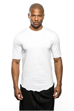 Round Neck Long Cotton T-Shirt - White