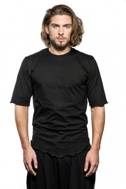 Round Neck Long Cotton T-Shirt - Black
