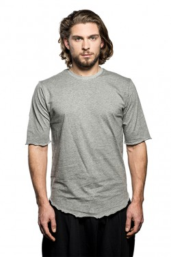 Round Neck Long Cotton T-Shirt - Grey