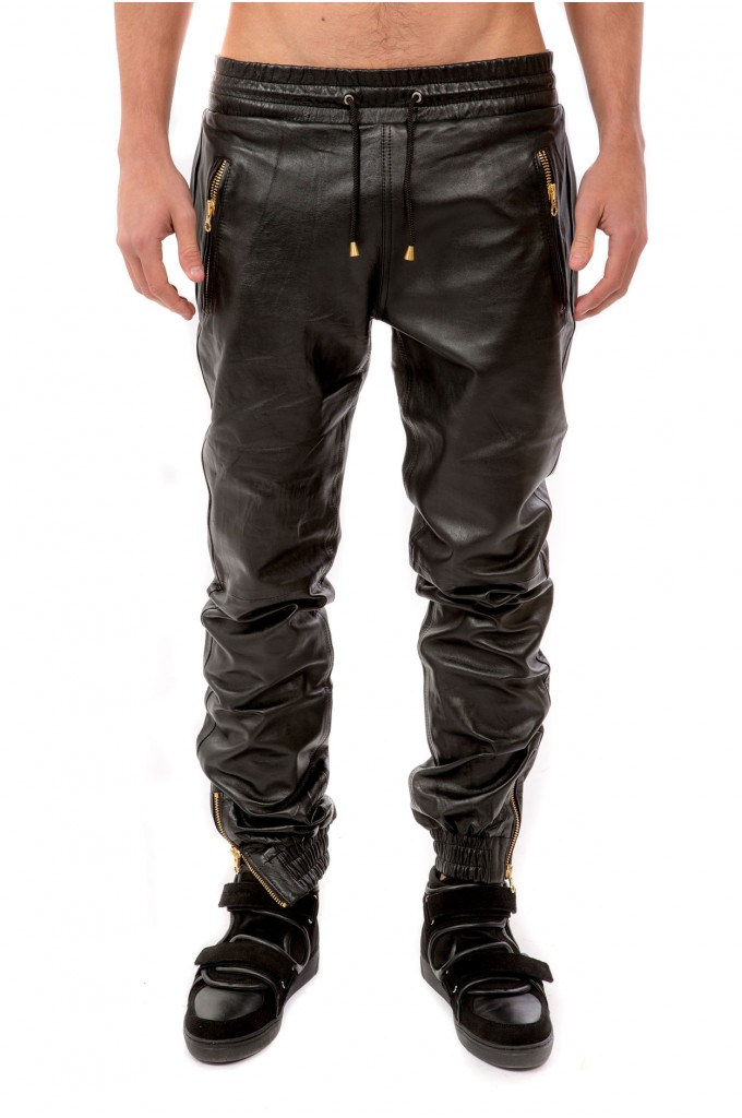 Black Leather Trousers - Gold