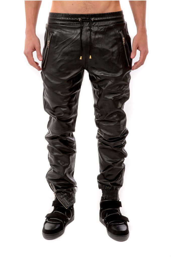 Black Leather Trousers - Silver