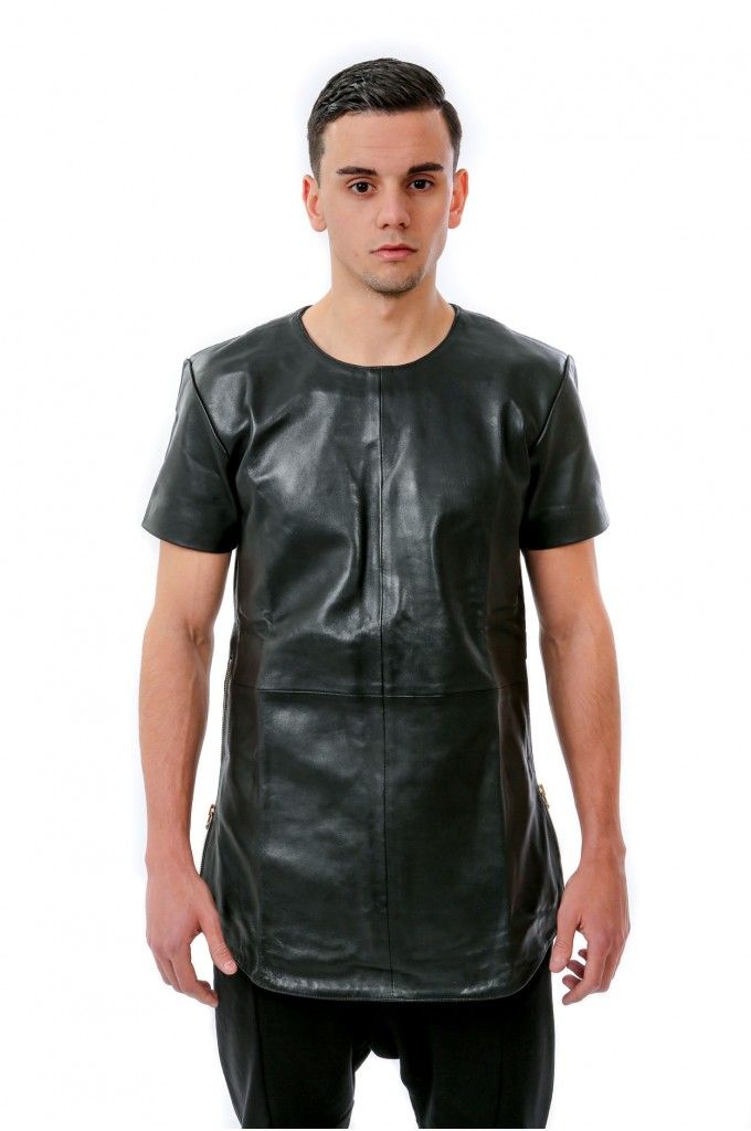Black Long Leather Tee - Gold