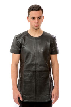 Black Long Leather Tee - Silver