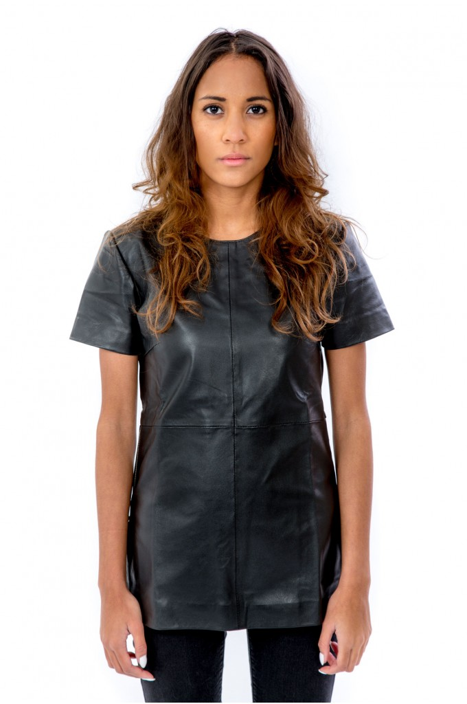 Black Oversize Leather Tee - Silver